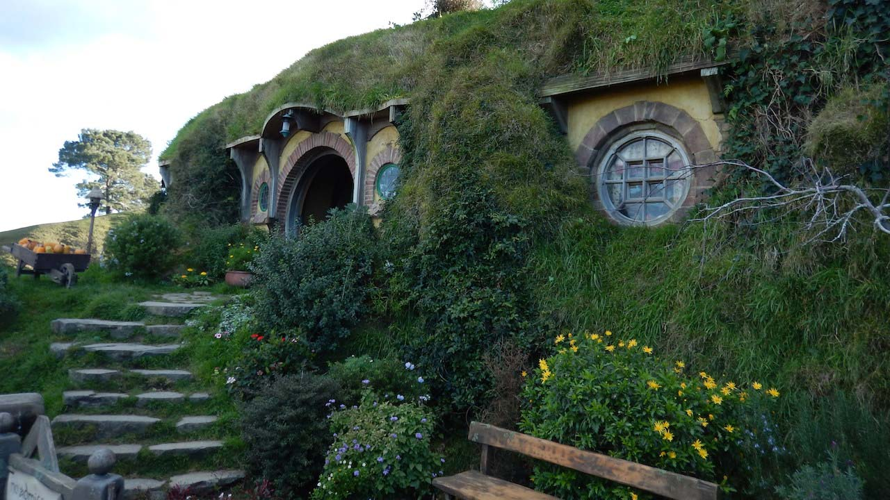 Lush green covered houses in Hobbitown, New Zealand