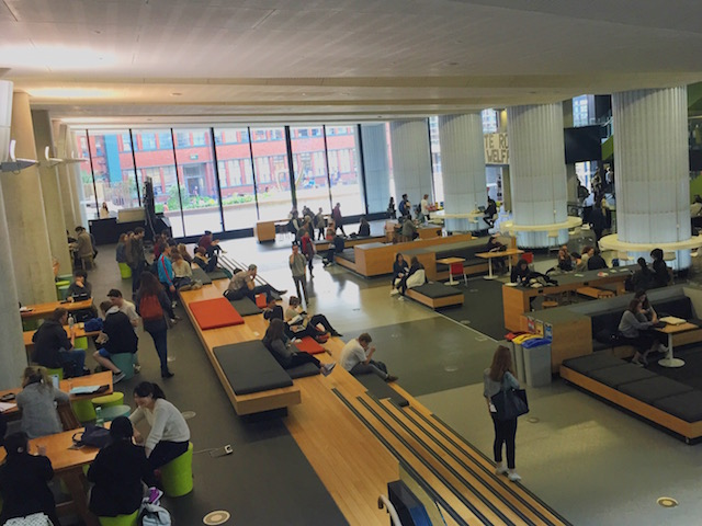 Students sit in a study room on Victoria University Wellington's campus