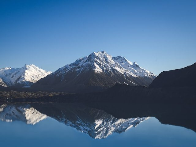 Mountains reflected in lake in New Zealand